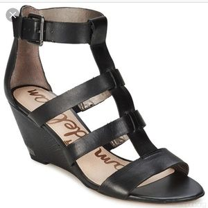 Sam Edelman Sabrina Black Wedge Sandals Size 7 1/2
